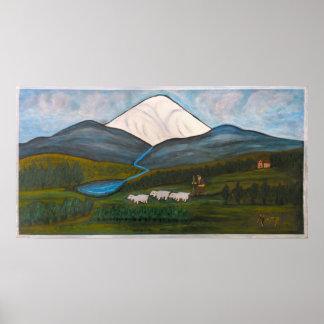 Mary, Liguria snow-clad mountain Poster