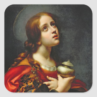 Mary Magdalene, 1660-70 (oil on canvas) Square Sticker