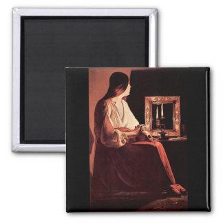 Mary Magdalene by Georges de La Tour 2 Inch Square Magnet