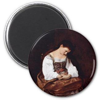 Mary Magdalene By Michelangelo Merisi Da Caravaggi Magnet