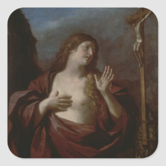 Mary Magdalene in Penitence (oil on canvas) 2 Square Sticker