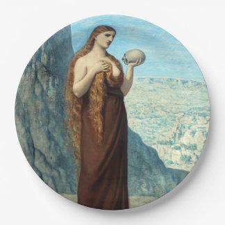 Mary Magdalene in the Desert by Puvis de Chavannes Paper Plate