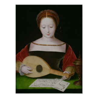 Mary Magdalene Playing a Lute Poster