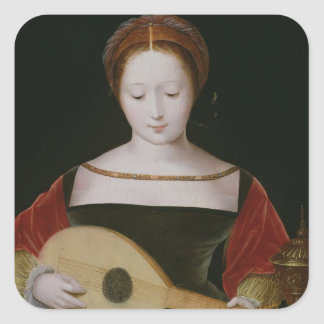 Mary Magdalene Playing a Lute Square Sticker
