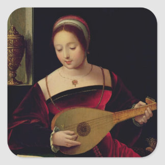 Mary Magdalene Playing the Lute Square Sticker