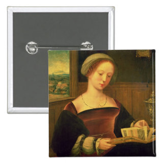 Mary Magdalene Reading (oil on panel) Button