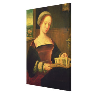 Mary Magdalene Reading (oil on panel) Canvas Print