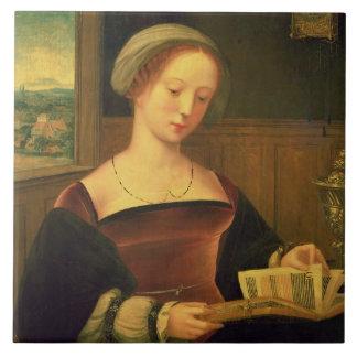 Mary Magdalene Reading (oil on panel) Ceramic Tile