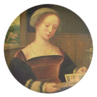 Mary Magdalene Reading (oil on panel) Dinner Plate