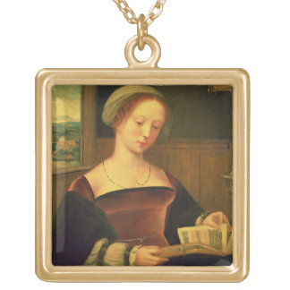 Mary Magdalene Reading (oil on panel) Gold Plated Necklace