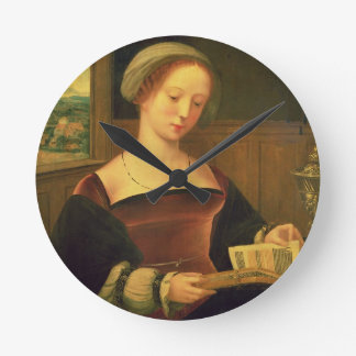 Mary Magdalene Reading (oil on panel) Round Clock
