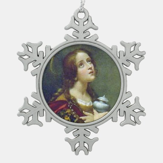 MARY MAGDALENE SNOWFLAKE PEWTER CHRISTMAS ORNAMENT
