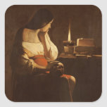 Mary Magdalene with a night light, 1630-35 Square Stickers