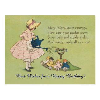 Mary Mary Quite Contrary Happy Birthday Post Card