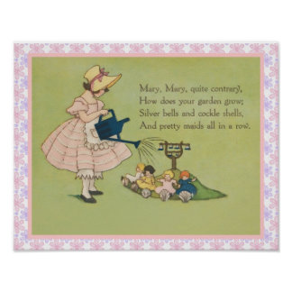 Mary Mary Quite Contrary Nursery Rhyme Poster