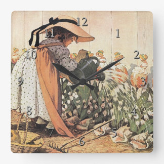 Mary, Mary, Quite Contrary Nursery Rhyme Square Wall Clock