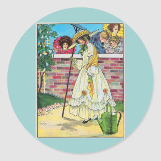 Mary Mary quite contrary Round Stickers