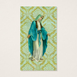 Mary On A Vintage Green and Blue Damask Pattern Business Card