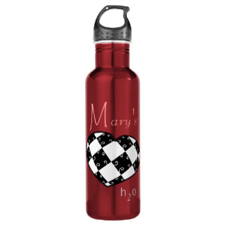 Mary Personalized H2O B&W Heart Stainless Steel Water Bottle