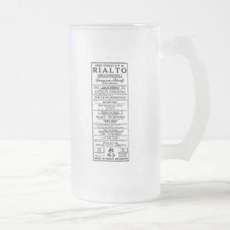 Mary Pickford Fatty Arbuckle 1918 ad Frosted Glass Beer Mug