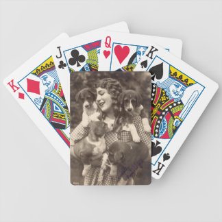 Mary Pickford Hugging Four Beagles Bicycle Playing Cards