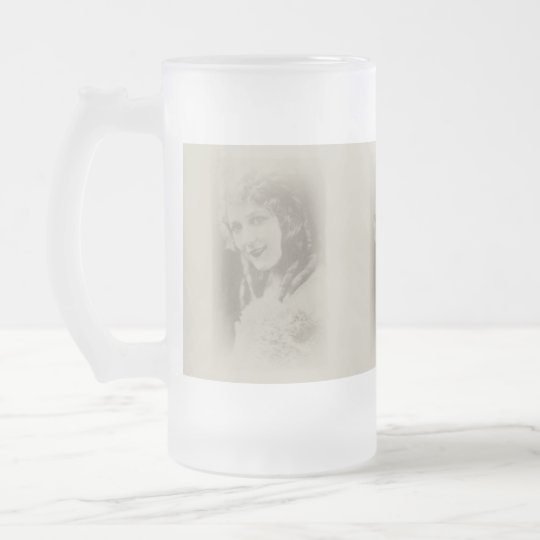 Mary Pickford, Silent Film Actress in Antique Frosted Glass Beer Mug