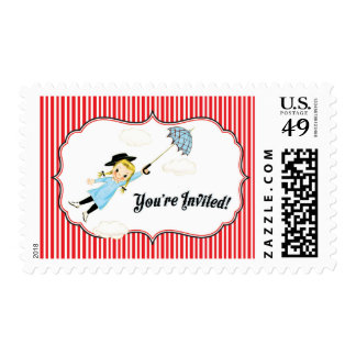 Mary Poppins inspired invitations matching stamps