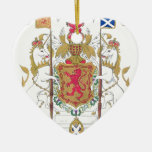 MARY QUEEN OF SCOTS COURT OF ARMS Double-Sided HEART CERAMIC CHRISTMAS ORNAMENT