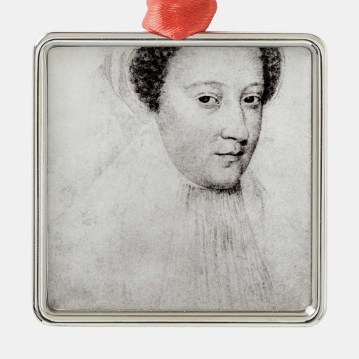 Mary, Queen of Scots  in white mourning, 1560 Square Metal Christmas Ornament