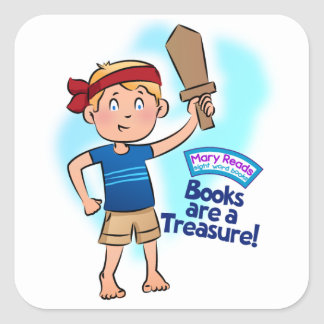 """Mary Reads """"Books Are a Treasure"""" Stickers"""
