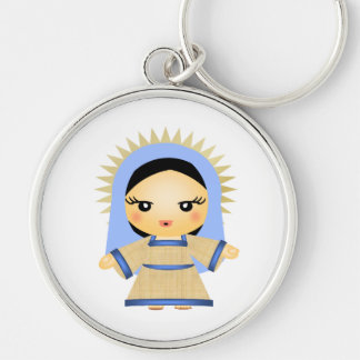 Mary Silver-Colored Round Keychain