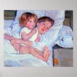 Mary Stevenson Cassatt-Breakfast in bed Poster