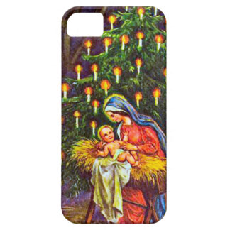 Mary, the baby Jesus, Christmas tree iPhone 5 Cover