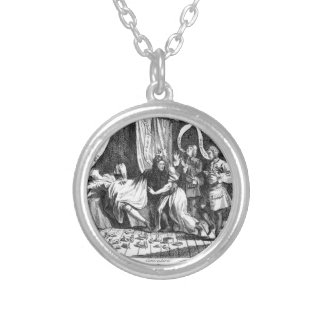 Mary Toft, apparently giving birth to rabbits Round Pendant Necklace