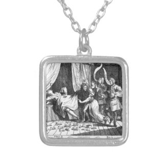Mary Toft, apparently giving birth to rabbits Square Pendant Necklace