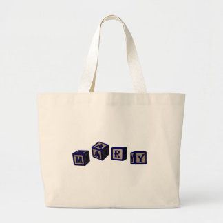 Mary toy blocks in blue canvas bag