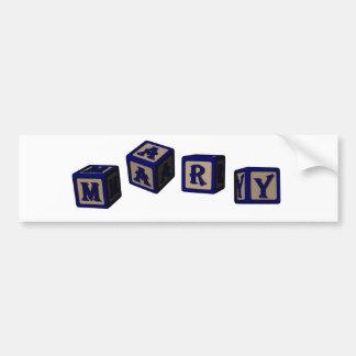 Mary toy blocks in blue car bumper sticker