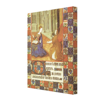 Mary visits her cousin Elizabeth, medieval Canvas Print