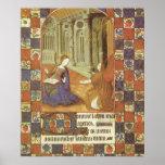 Mary visits her cousin Elizabeth, medieval Poster
