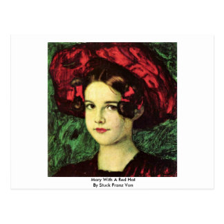 Mary With A Red Hat By Stuck Franz Von Postcard
