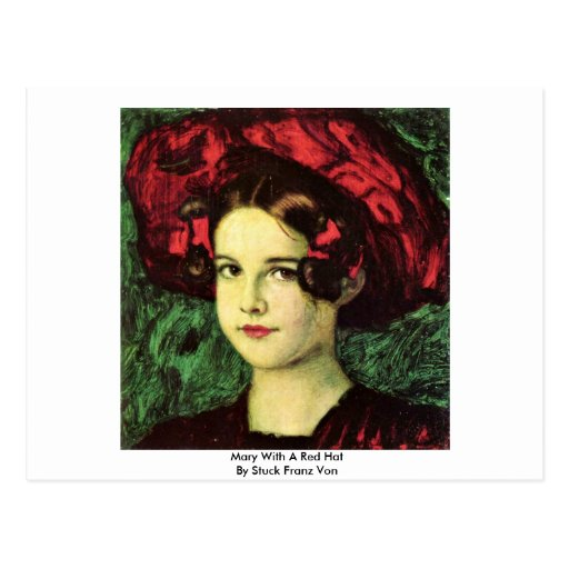 Mary With A Red Hat By Stuck Franz Von Post Cards