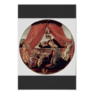 Mary With Baby Jesus And Three Angels Tondo Print