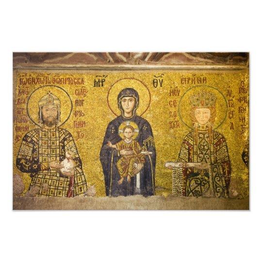 Mary with Baby Jesus Byzantine Mosaic Photo Print