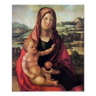 Mary with child against a landscape by Durer Poster
