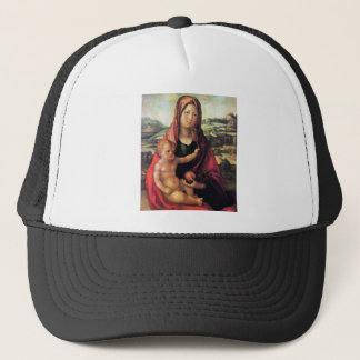 Mary with child against a landscape trucker hat