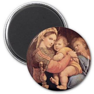 Mary With Christ Child And John The Baptist Tondo Fridge Magnet
