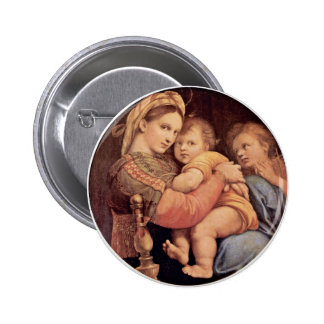 Mary With Christ Child And John The Baptist Tondo Pinback Button
