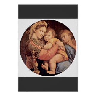 Mary With Christ Child And John The Baptist Tondo Poster