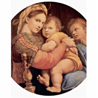 Mary With Christ Child And John The Baptist Tondo Standing Photo Sculpture