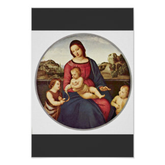 Mary With Christ Child And Two Saints Tondo Posters